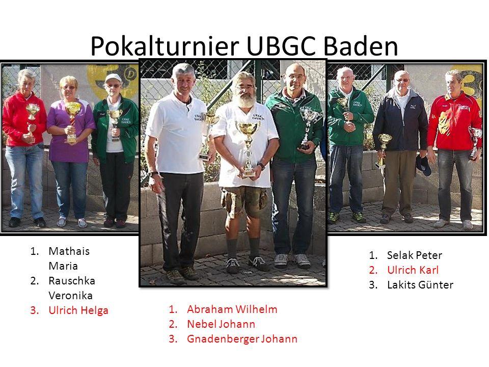 Pokalturnier UBGC Baden 1.Mathais Maria 2.Rauschka Veronika 3.Ulrich Helga 1.Selak Peter 2.Ulrich Karl 3.Lakits Günter 1.Abraham Wilhelm 2.Nebel Johan