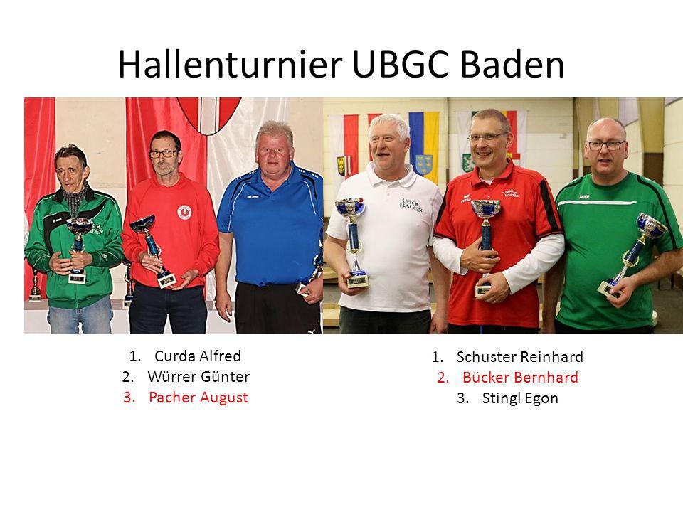 Hallenturnier UBGC Baden 1.Curda Alfred 2.Würrer Günter 3.Pacher August 1.Schuster Reinhard 2.Bücker Bernhard 3.Stingl Egon