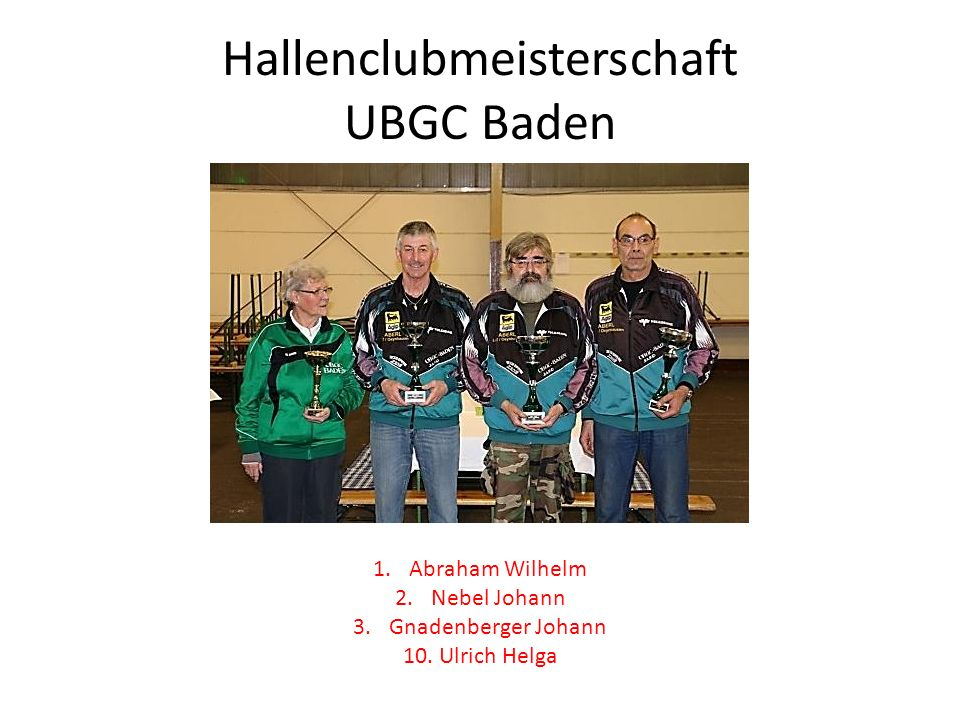 Schlossparkturnier Bad Vöslau 1.Nowitsch Ingrid 2.Stelzhammer Brigitta 3.Ulrich Helga 1.Nebel Johann 2.Gnadenberger Johann 3.Ettenauer Rudolf