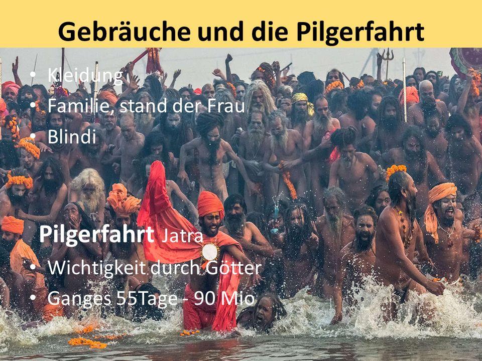 Gebräuche und die Pilgerfahrt Kleidung Familie, stand der Frau Blindi Pilgerfahrt Jatra Wichtigkeit durch Götter Ganges 55Tage - 90 Mio