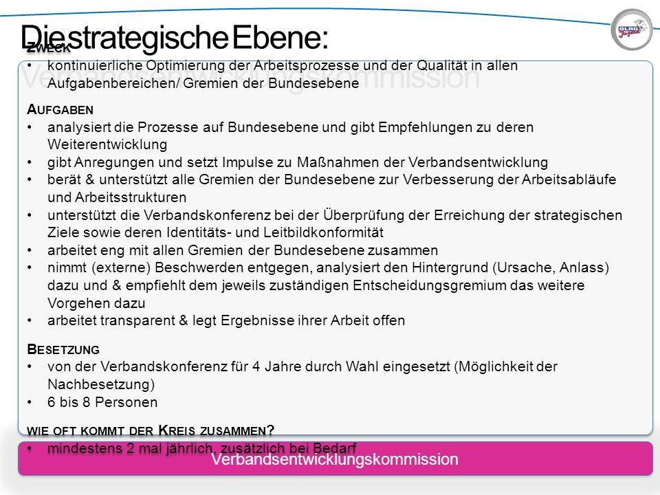 Die strategische Ebene: Verbandsentwicklungskommission Verbandsentwicklungskommission Z WECK kontinuierliche Optimierung der Arbeitsprozesse und der Q