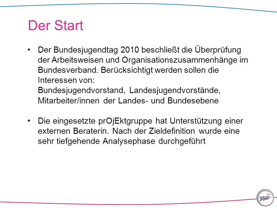 Der Bundesjugendtag 2010 beschließt die Überprüfung der Arbeitsweisen und Organisationszusammenhänge im Bundesverband. Berücksichtigt werden sollen di