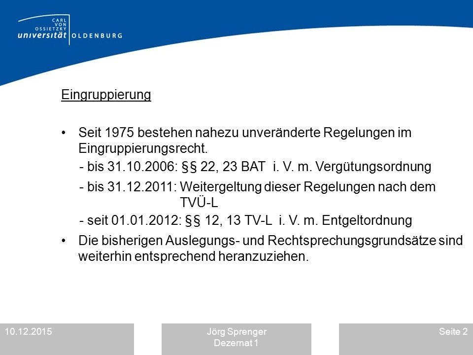 10.12.2015Jörg Sprenger Dezernat 1 Seite 2 Eingruppierung Seit 1975 bestehen nahezu unveränderte Regelungen im Eingruppierungsrecht. - bis 31.10.2006: