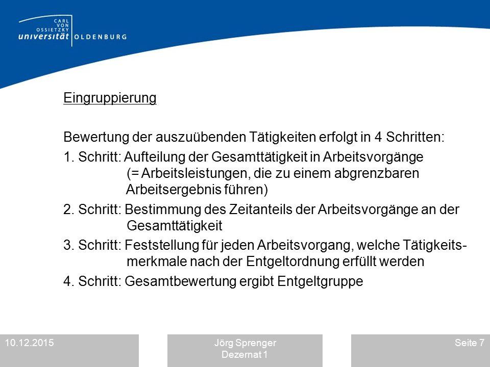 10.12.2015Jörg Sprenger Dezernat 1 Seite 7 Eingruppierung Bewertung der auszuübenden Tätigkeiten erfolgt in 4 Schritten: 1. Schritt: Aufteilung der Ge