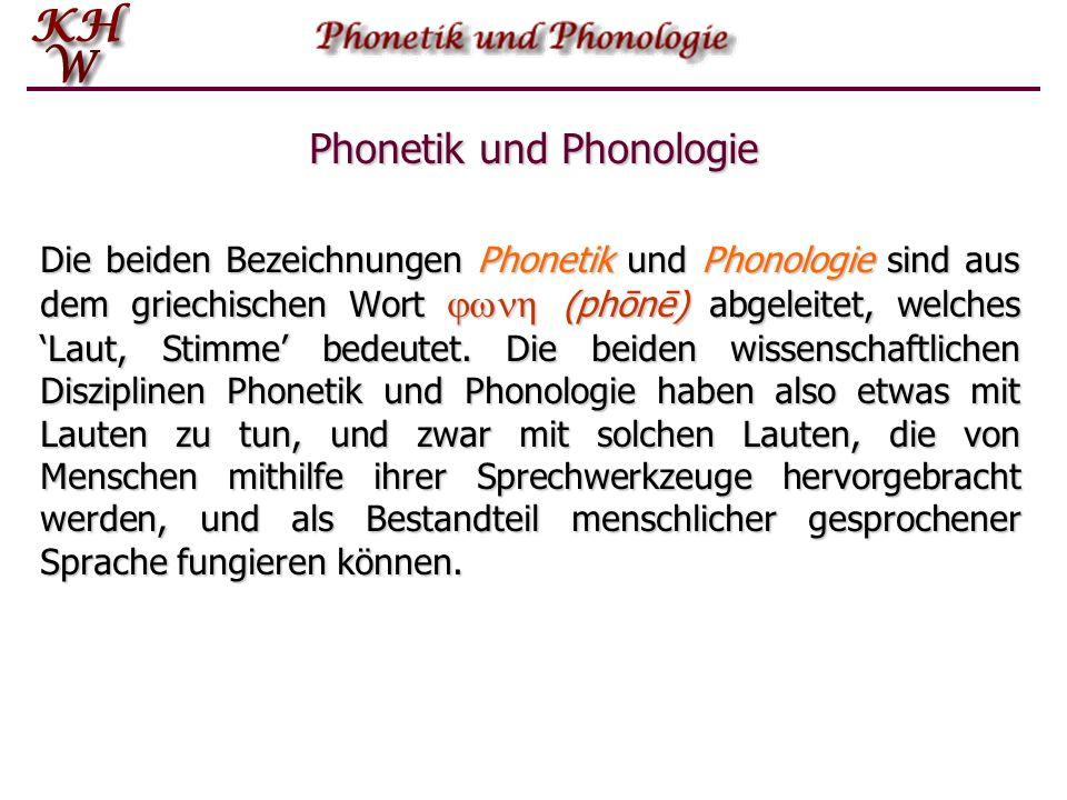 Phonetik und Phonologie Die beiden Bezeichnungen Phonetik und Phonologie sind aus dem griechischen Wort  η (phōnē) abgeleitet, welches 'Laut, Stimme' bedeutet.