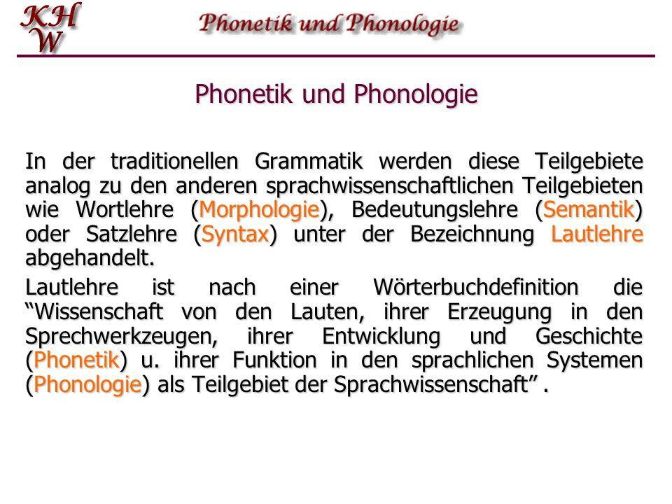 Phonetik und Phonologie In der traditionellen Grammatik werden diese Teilgebiete analog zu den anderen sprachwissenschaftlichen Teilgebieten wie Wortlehre (Morphologie), Bedeutungslehre (Semantik) oder Satzlehre (Syntax) unter der Bezeichnung Lautlehre abgehandelt.