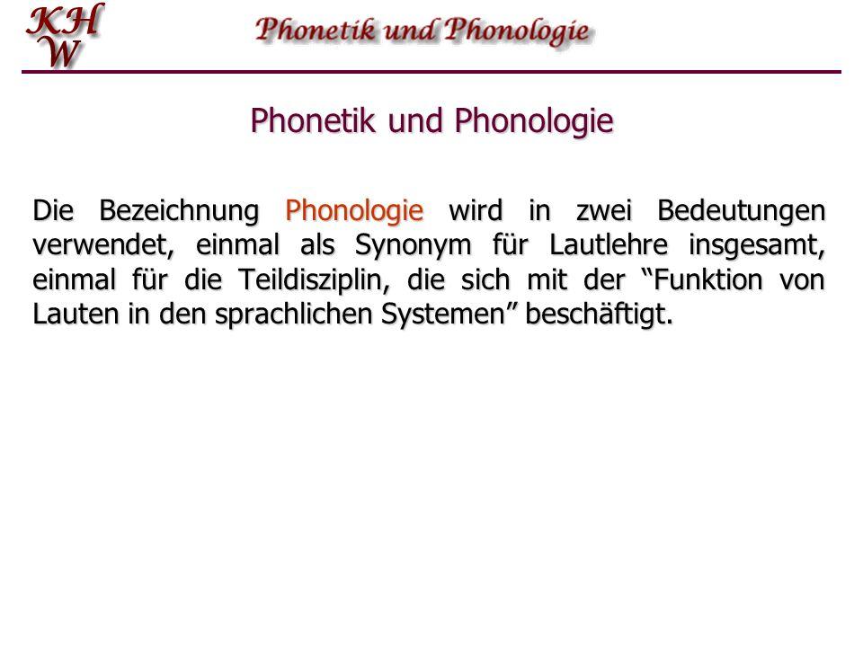 Phonetik und Phonologie Die Bezeichnung Phonologie wird in zwei Bedeutungen verwendet, einmal als Synonym für Lautlehre insgesamt, einmal für die Teildisziplin, die sich mit der Funktion von Lauten in den sprachlichen Systemen beschäftigt.