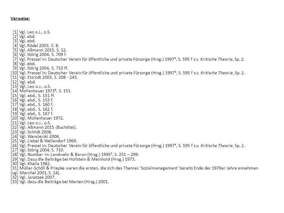 Verweise: [1] Vgl. Leo o.J., o.S. [2] Vgl. ebd. [3] Vgl. ebd. [4] Vgl. Rödel 2003, S. 8. [5] Vgl. Aßmann 2015, S. 12. [6] Vgl. Störig 2004, S. 709 f.