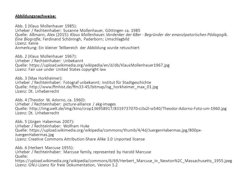Abbildungsnachweise: Abb. 1 (Klaus Mollenhauer 1985): Urheber / Rechteinhaber: Susanne Mollenhauer, Göttingen ca. 1985 Quelle: Aßmann, Alex (2015): Kl