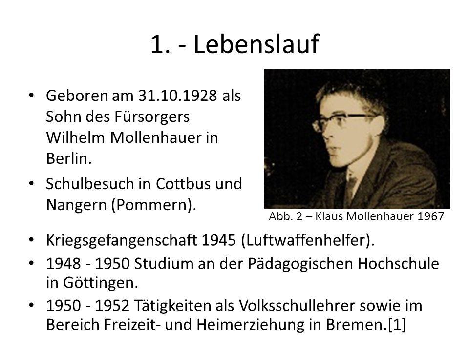 1. - Lebenslauf Geboren am 31.10.1928 als Sohn des Fürsorgers Wilhelm Mollenhauer in Berlin. Schulbesuch in Cottbus und Nangern (Pommern). Abb. 2 – Kl