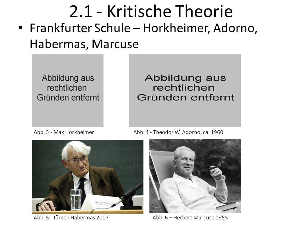 2.1 - Kritische Theorie Frankfurter Schule – Horkheimer, Adorno, Habermas, Marcuse Abb. 4 - Theodor W. Adorno, ca. 1960Abb. 3 - Max Horkheimer Abb. 5
