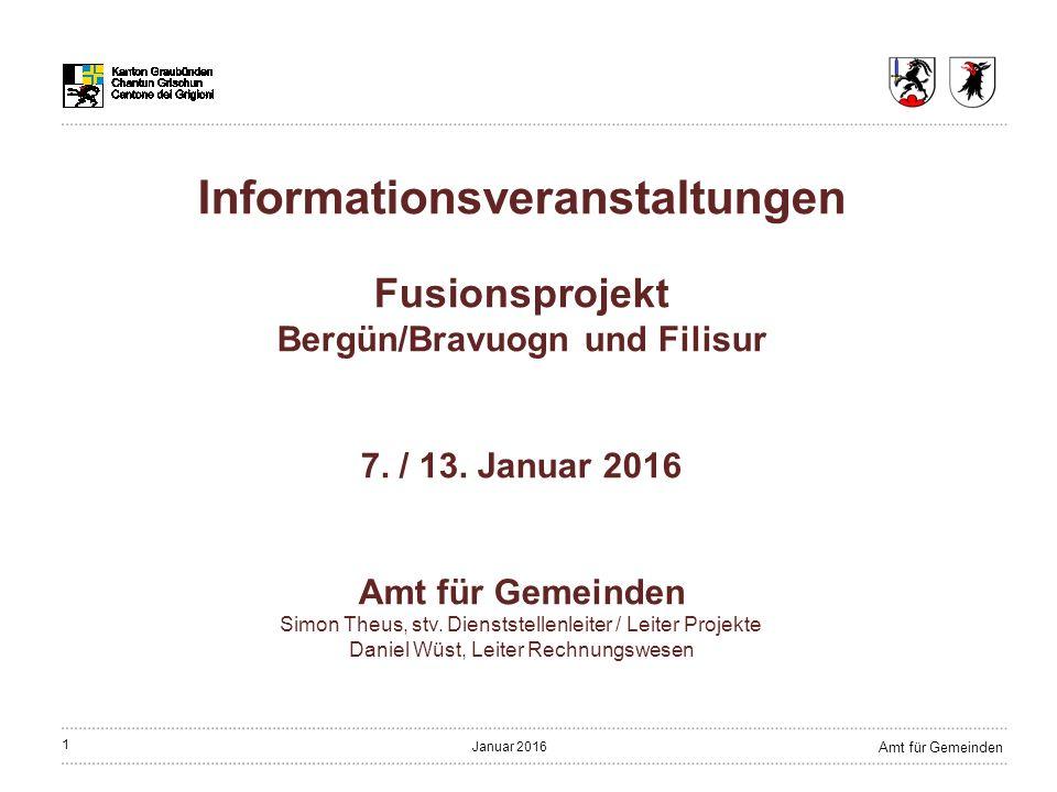 32 Amt für Gemeinden Januar 2016 Gemeindeverwaltung Verwaltung ist bereits fusioniert Mitarbeiterinnen und Mitarbeiter werden übernommen Geschäftsleitungsmodell als Option Standort Kanzlei Bergün/Bravuogn Konzept