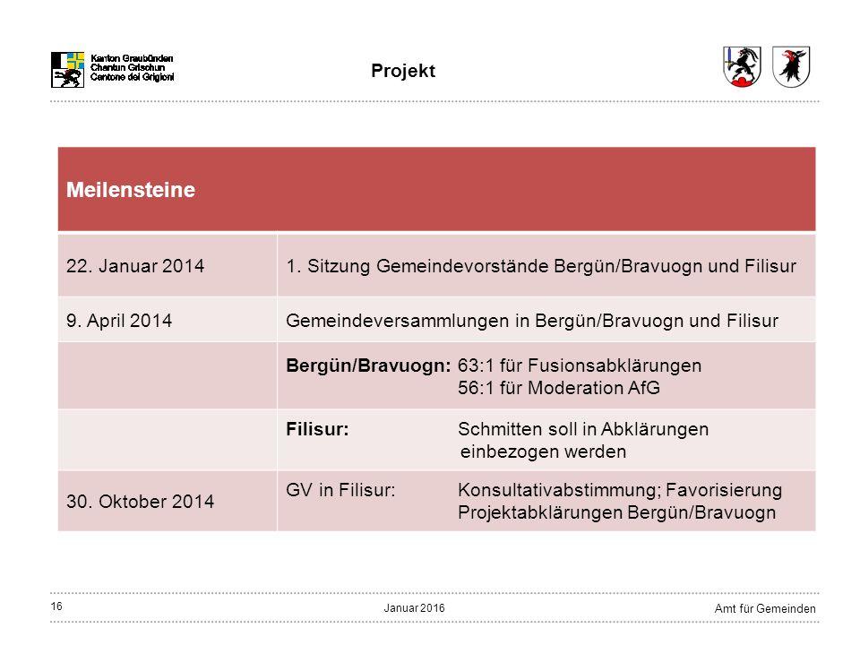 16 Amt für Gemeinden Januar 2016 Projekt Meilensteine 22.