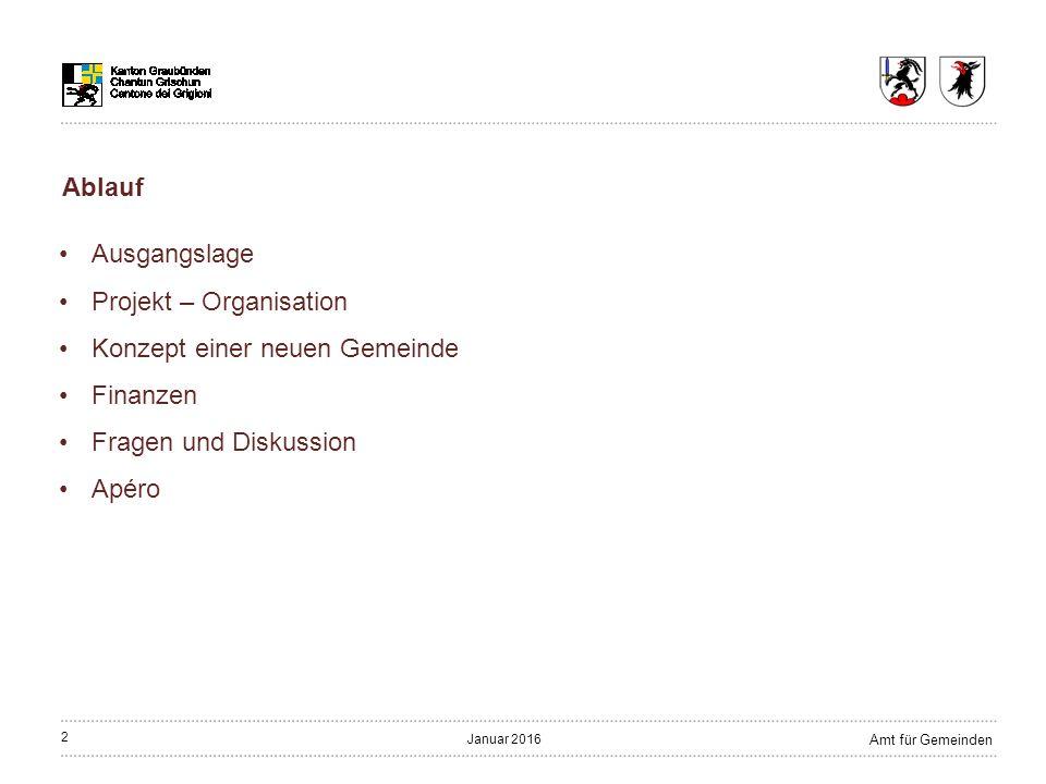 33 Amt für Gemeinden Januar 2016 Der Schulstandort Filisur ist zu stärken Schule Schulverband Bergün Filisur wird aufgelöst; keine weiteren fusionsbedingten Änderungen Konzept
