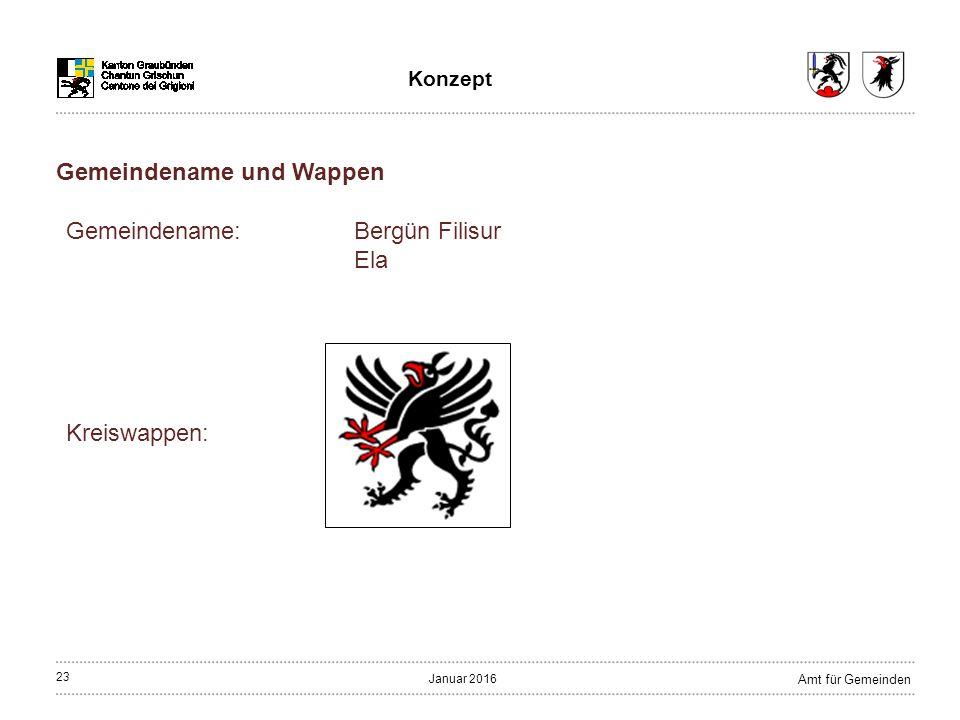 23 Amt für Gemeinden Januar 2016 Konzept Gemeindename: Bergün Filisur Ela Kreiswappen: Gemeindename und Wappen