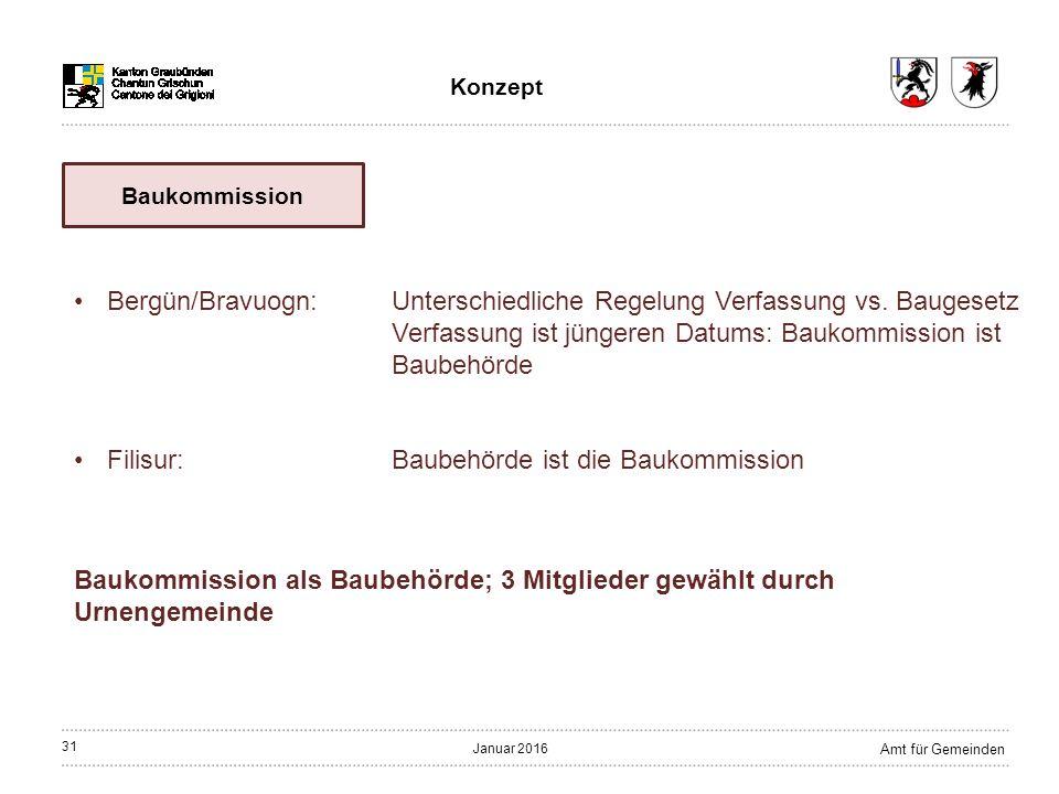 31 Amt für Gemeinden Januar 2016 Baukommission als Baubehörde; 3 Mitglieder gewählt durch Urnengemeinde Bergün/Bravuogn:Unterschiedliche Regelung Verfassung vs.
