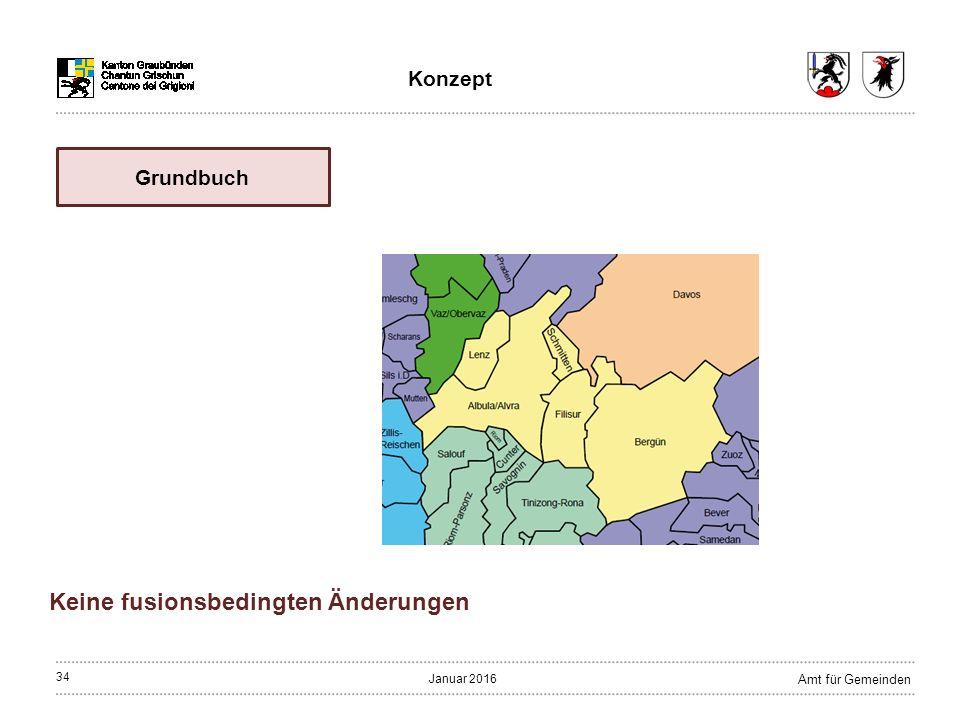 34 Amt für Gemeinden Januar 2016 Keine fusionsbedingten Änderungen Grundbuch Konzept