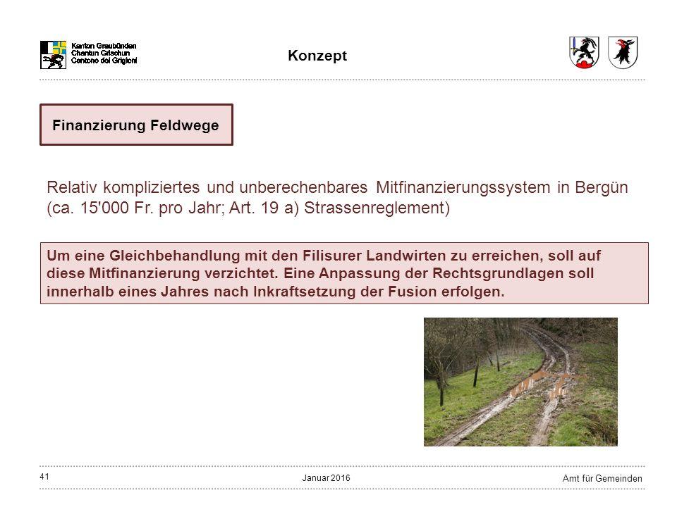 41 Amt für Gemeinden Januar 2016 Finanzierung Feldwege Relativ kompliziertes und unberechenbares Mitfinanzierungssystem in Bergün (ca.