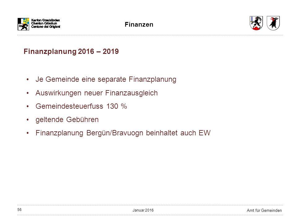 56 Amt für Gemeinden Januar 2016 Finanzen Finanzplanung 2016 – 2019 Je Gemeinde eine separate Finanzplanung Auswirkungen neuer Finanzausgleich Gemeindesteuerfuss 130 % geltende Gebühren Finanzplanung Bergün/Bravuogn beinhaltet auch EW
