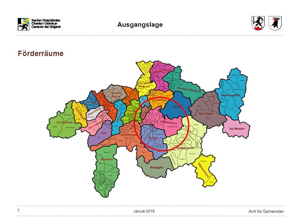 7 Amt für Gemeinden Januar 2016 Ausgangslage Förderräume