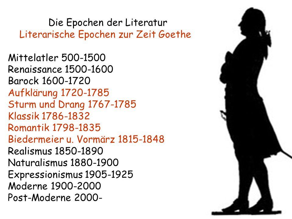 Die Epochen der Literatur Literarische Epochen zur Zeit Goethe Mittelatler 500-1500 Renaissance 1500-1600 Barock 1600-1720 Aufklärung 1720-1785 Sturm und Drang 1767-1785 Klassik 1786-1832 Romantik 1798-1835 Biedermeier u.