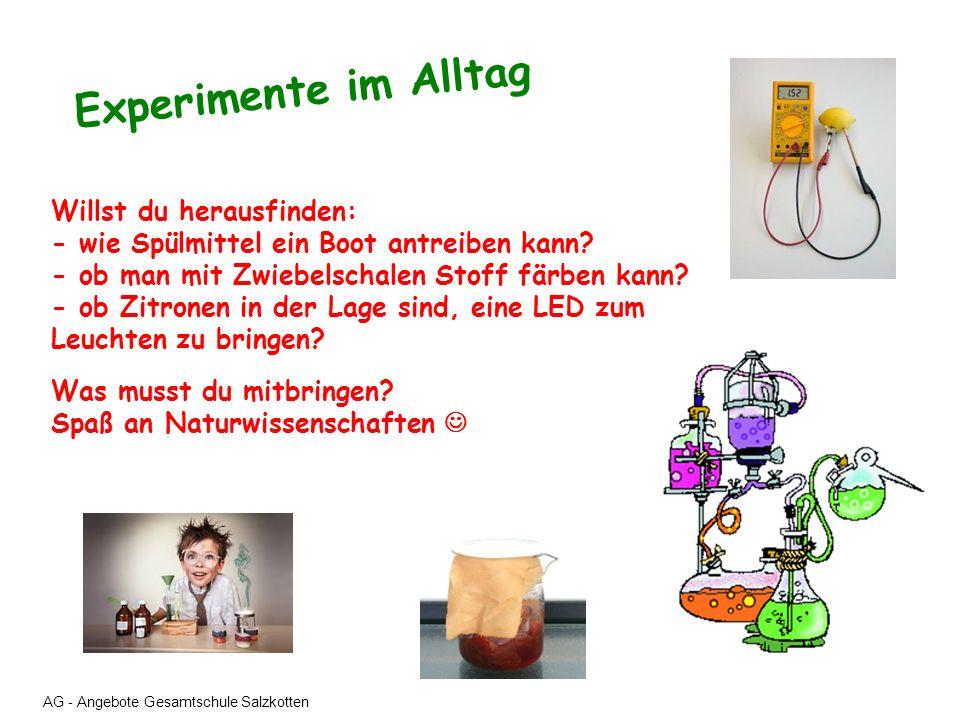 AG - Angebote Gesamtschule Salzkotten Experimente im Alltag Willst du herausfinden: - wie Spülmittel ein Boot antreiben kann? - ob man mit Zwiebelscha