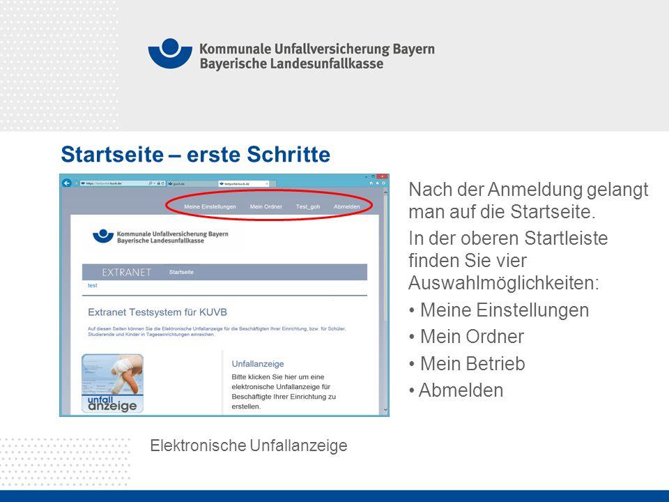Startseite – erste Schritte Elektronische Unfallanzeige Nach der Anmeldung gelangt man auf die Startseite.
