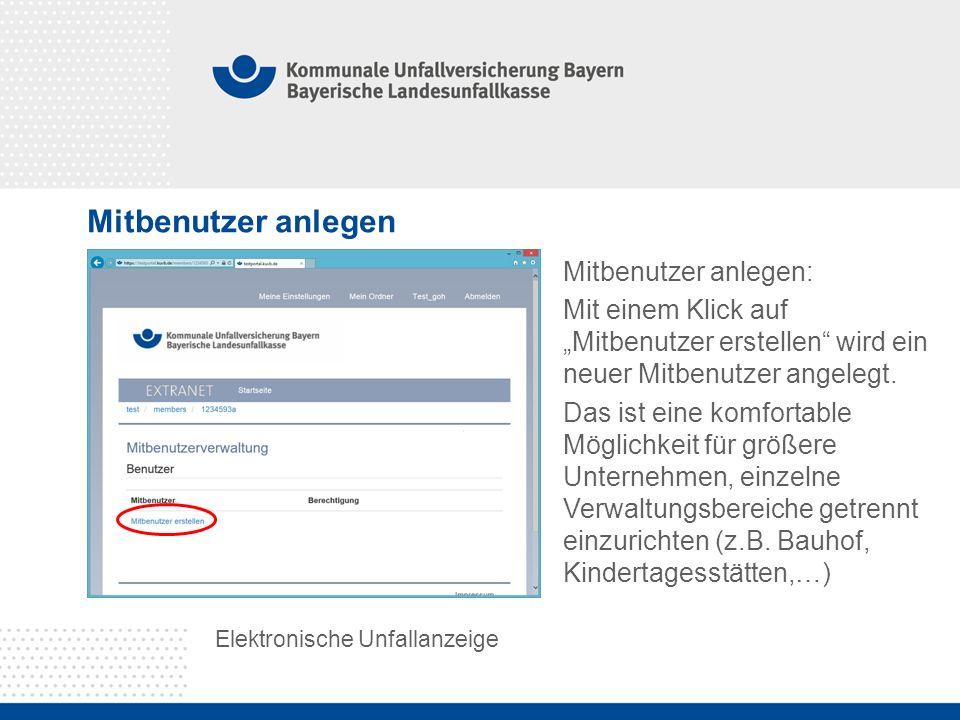 """Mitbenutzer anlegen Elektronische Unfallanzeige Mitbenutzer anlegen: Mit einem Klick auf """"Mitbenutzer erstellen"""" wird ein neuer Mitbenutzer angelegt."""