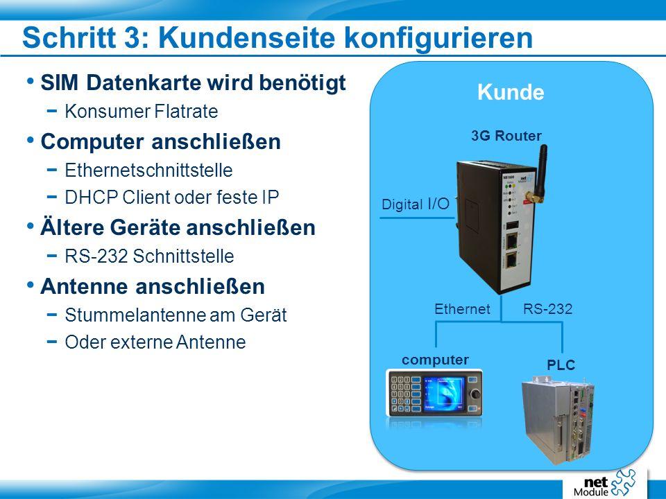 SIM Datenkarte wird benötigt − Konsumer Flatrate Computer anschließen − Ethernetschnittstelle − DHCP Client oder feste IP Ältere Geräte anschließen − RS-232 Schnittstelle Antenne anschließen − Stummelantenne am Gerät − Oder externe Antenne Schritt 3: Kundenseite konfigurieren Kunde PLC 3G Router computer RS-232Ethernet Digital I/O