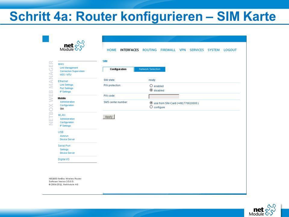 Schritt 4a: Router konfigurieren – SIM Karte