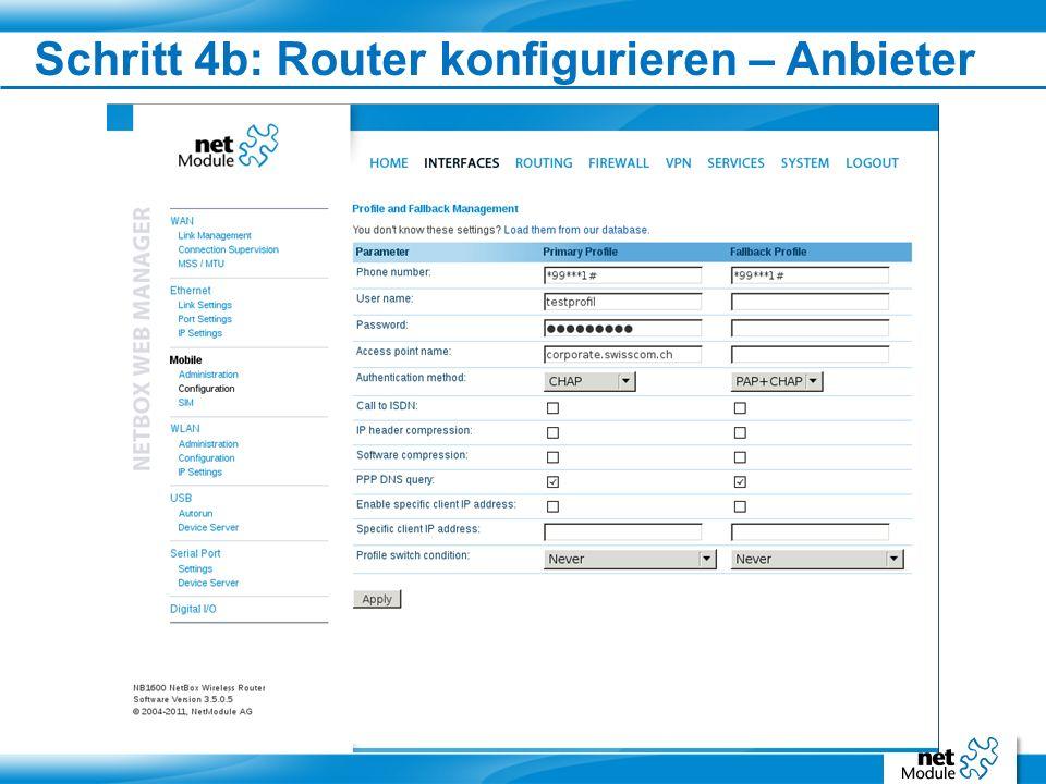 Schritt 4b: Router konfigurieren – Anbieter