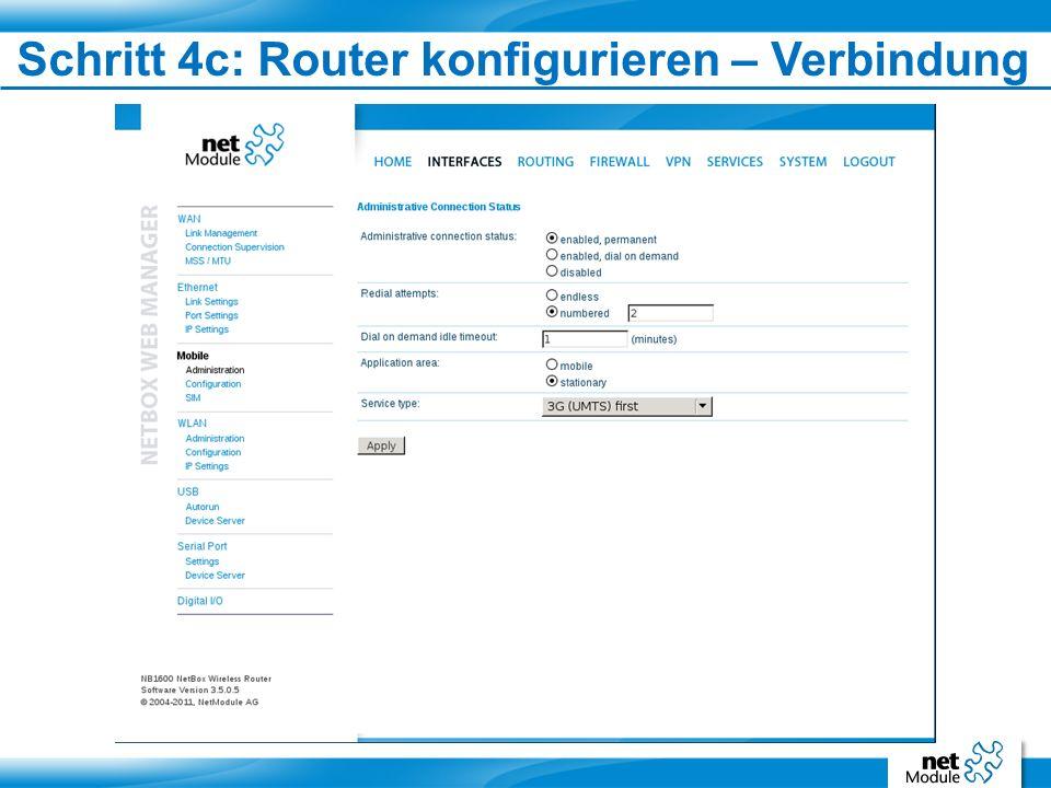 Schritt 4c: Router konfigurieren – Verbindung