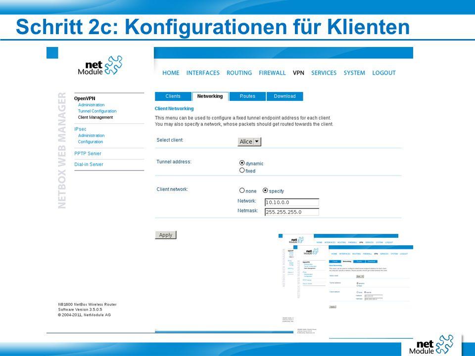 Schritt 2d: Klientenkonfiguration speichern