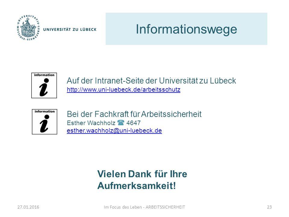 Informationswege Im Focus das Leben - ARBEITSSICHERHEIT23 Auf der Intranet-Seite der Universität zu Lübeck http://www.uni-luebeck.de/arbeitsschutz Bei