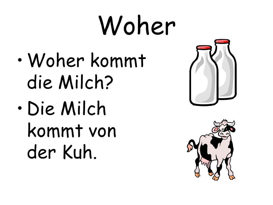 Woher Woher kommt die Milch? Die Milch kommt von der Kuh.