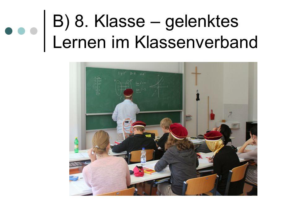 B) 8. Klasse – gelenktes Lernen im Klassenverband