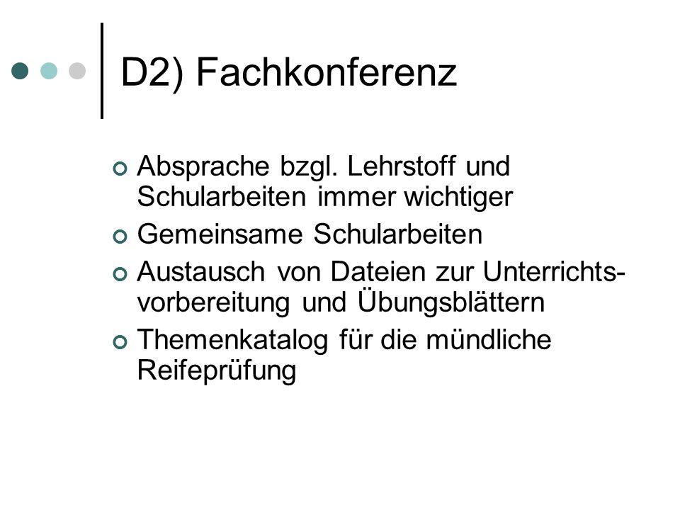 D2) Fachkonferenz Absprache bzgl.