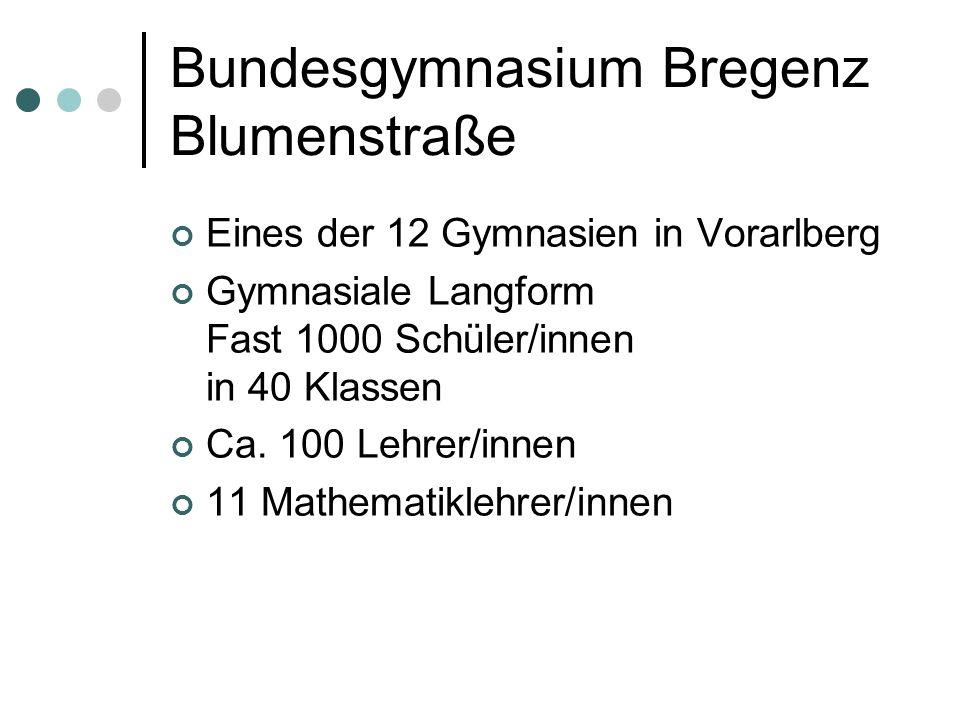 Bundesgymnasium Bregenz Blumenstraße Eines der 12 Gymnasien in Vorarlberg Gymnasiale Langform Fast 1000 Schüler/innen in 40 Klassen Ca.