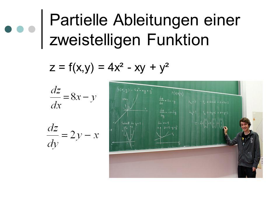 Partielle Ableitungen einer zweistelligen Funktion z = f(x,y) = 4x² - xy + y²