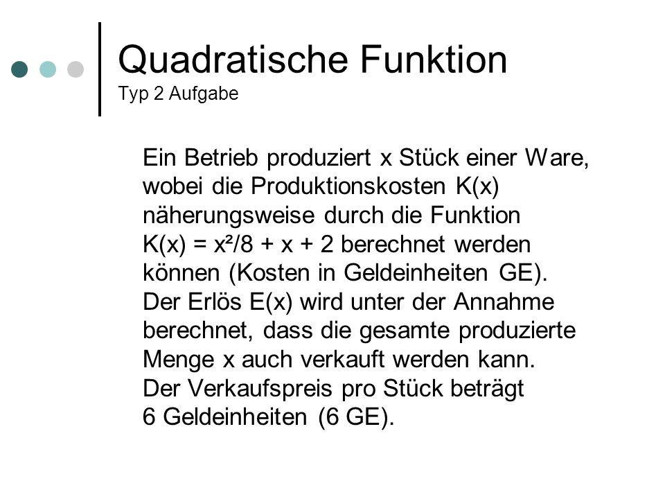 Quadratische Funktion Typ 2 Aufgabe Ein Betrieb produziert x Stück einer Ware, wobei die Produktionskosten K(x) näherungsweise durch die Funktion K(x) = x²/8 + x + 2 berechnet werden können (Kosten in Geldeinheiten GE).