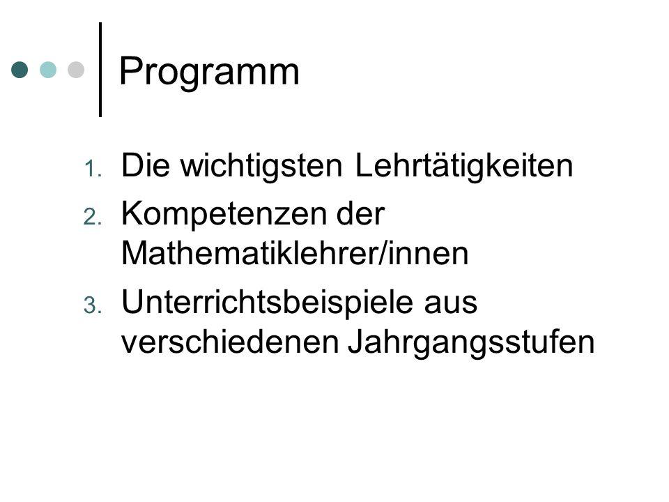 Programm 1. Die wichtigsten Lehrtätigkeiten 2. Kompetenzen der Mathematiklehrer/innen 3.