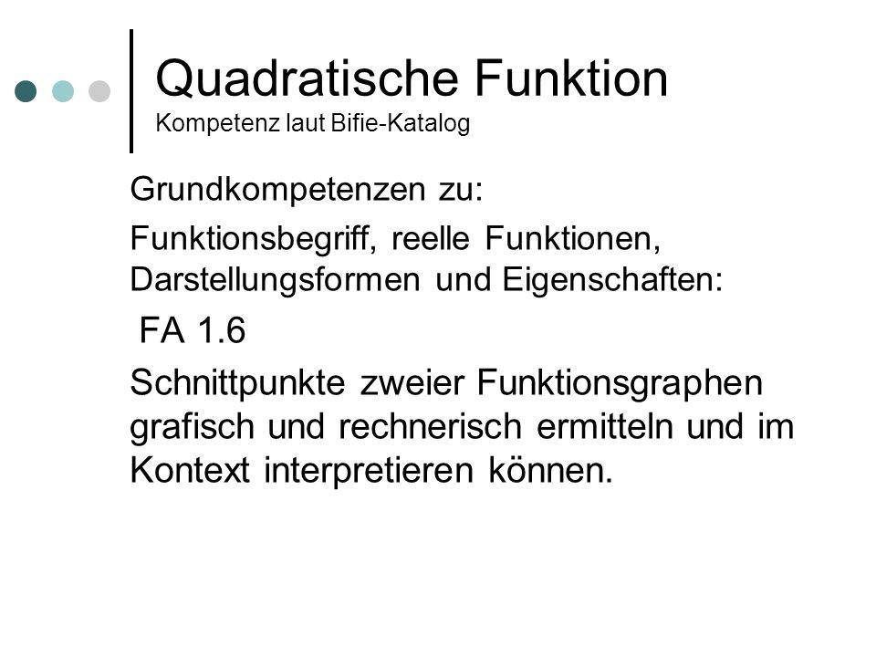 Quadratische Funktion Kompetenz laut Bifie-Katalog Grundkompetenzen zu: Funktionsbegriff, reelle Funktionen, Darstellungsformen und Eigenschaften: FA 1.6 Schnittpunkte zweier Funktionsgraphen grafisch und rechnerisch ermitteln und im Kontext interpretieren können.