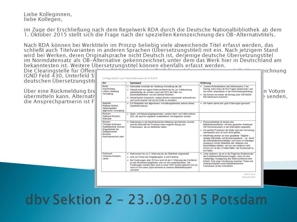 Liebe Kolleginnen, liebe Kollegen, im Zuge der Erschließung nach dem Regelwerk RDA durch die Deutsche Nationalbibliothek ab dem 1. Oktober 2015 stellt