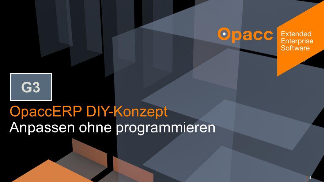 Opacc, CH-Kriens/LucerneOpaccConnect 201430.10.2014 OpaccERP DIY-Konzept Anpassen ohne programmieren 1 G3