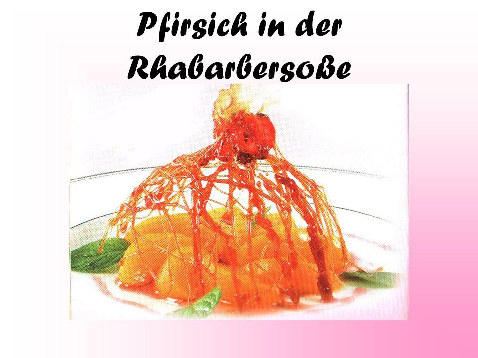 Pfirsich in der Rhabarbersoße