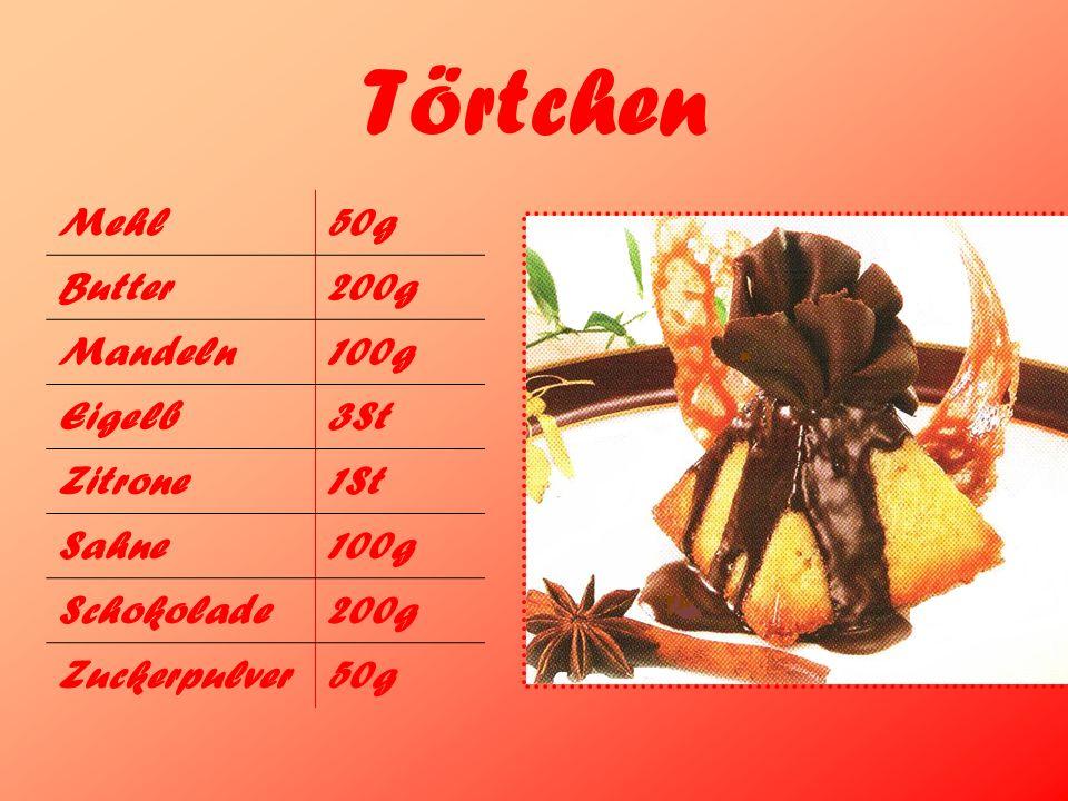 Törtchen Mehl50g Butter200g Mandeln100g Eigelb3St Zitrone1St Sahne100g Schokolade200g Zuckerpulver50g