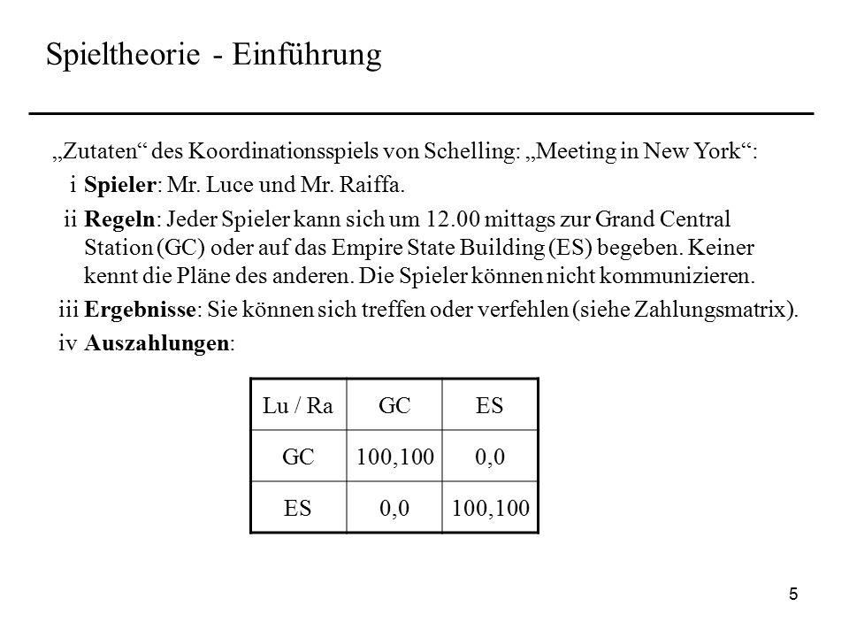 6 Spieltheorie - Einführung Die Spieltheorie hat sehr viele Anwendungen, z.B.: Theorie der Finanzintermediation / Corporate Finance Theorie der Unternehmung Industrieökonomik Theorie des allgemeinen Gleichgewichts Einige wichtige Forscher auf diesem Forschungsfeldes sind: von Neumann und Morgenstern (1944), Nash* (1951) Harsanyi* (1973), Selten* (1981) Myerson (1978), Kreps und Wilson (1982), Rubinstein (1982) Schelling* (1960), Aumann* (1959, 1976) Smith* (1962), Kahneman und Tversky * (1979) Mit * gekennzeichnete Autoren erhielten bisher einen Nobelpreis der Wirtschaftswissenschaften.