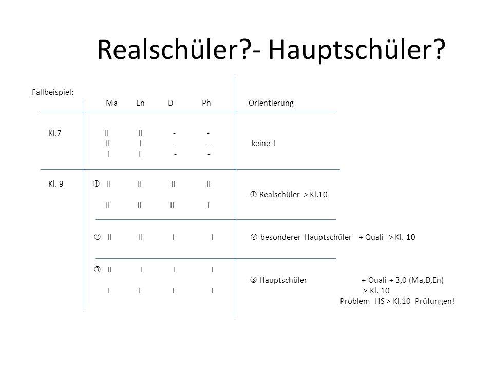 Realschüler?- Hauptschüler.Fallbeispiel: Ma En D Ph Orientierung Kl.7 II II - - II I - - keine .