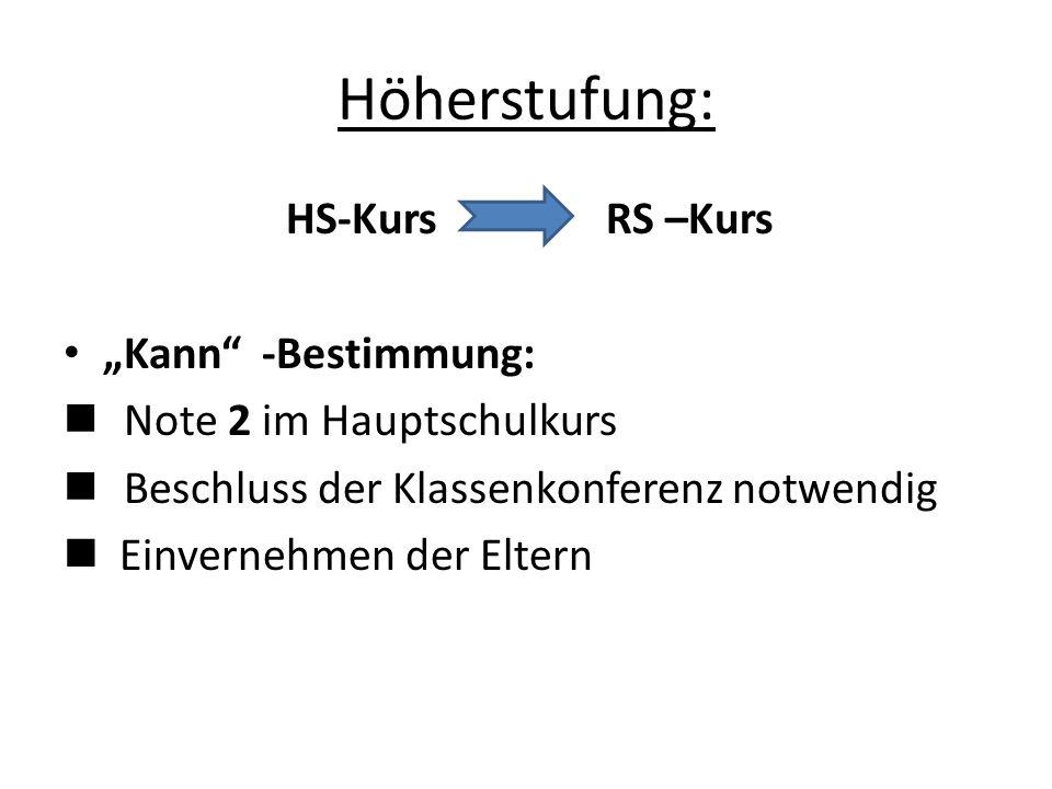 """Höherstufung: HS-Kurs RS –Kurs """"Kann -Bestimmung: Note 2 im Hauptschulkurs Beschluss der Klassenkonferenz notwendig Einvernehmen der Eltern"""