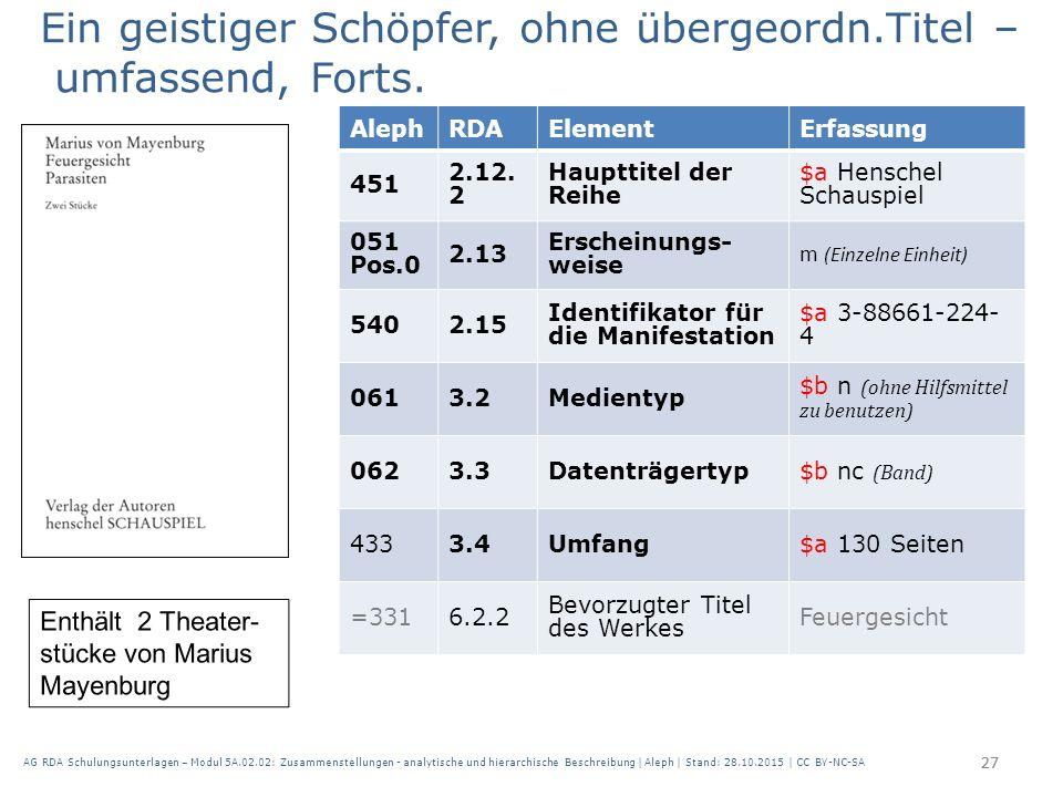 27 AlephRDAElementErfassung 451 2.12. 2 Haupttitel der Reihe $a Henschel Schauspiel 051 Pos.0 2.13 Erscheinungs- weise m (Einzelne Einheit) 5402.15 Id